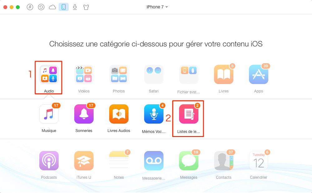 Comment faire une playlist sur iPhone 4/4s/5/5s/6/6s/7/7 Plus – étape 2