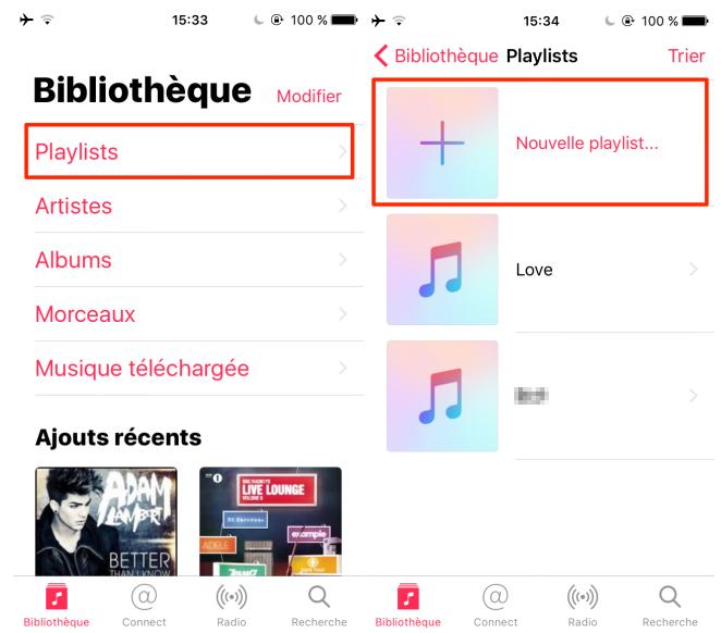 Ajouter une playlist sur iPhone/iPad