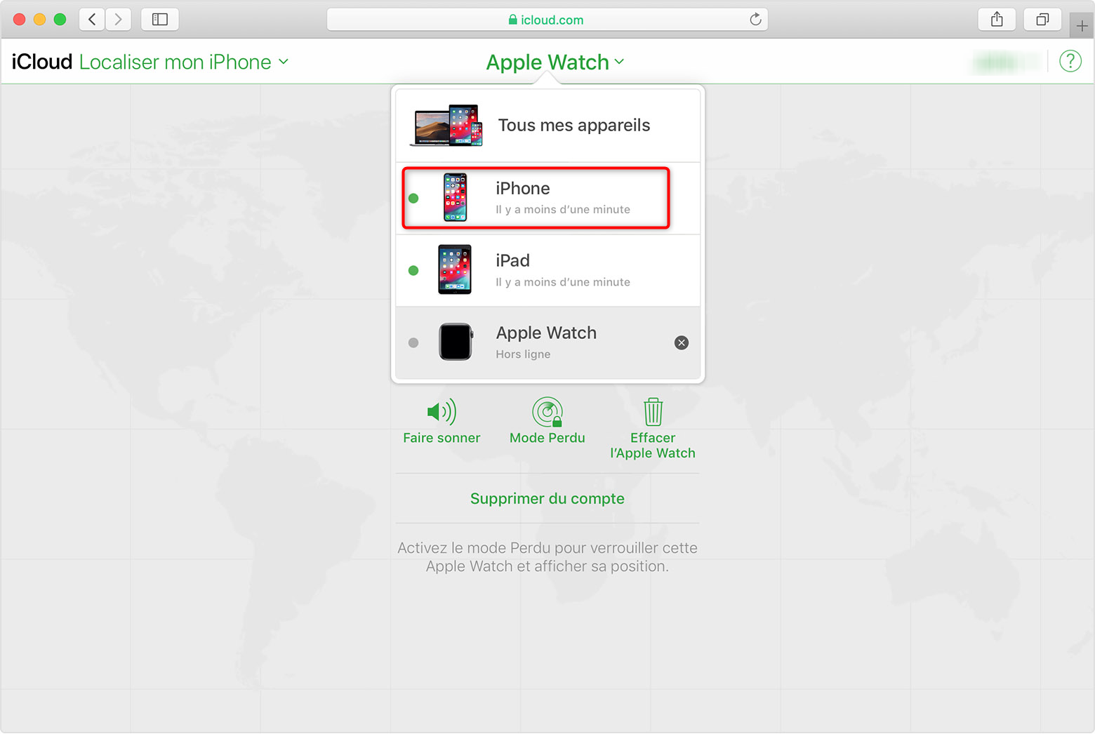 Accéder à la liste pour déverrouiller un iPhone à écran cassé - étape 2