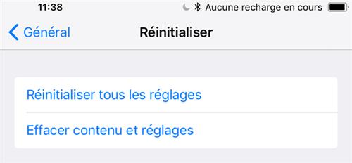Réinitialiser votre appareil sous iOS 12/11