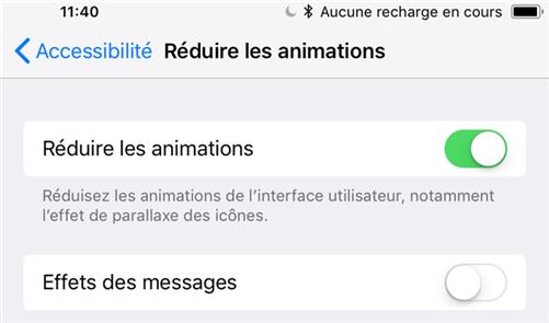 Réduire les animations sur votre iPhone sous iOS 12/11