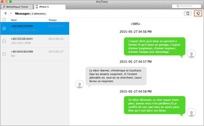Imprimer les messages texte sur votre iPhone