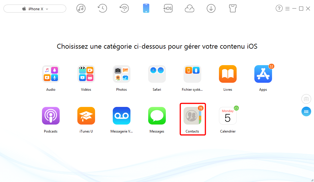 Importer les contacts CSV sur iPhone - étape 2