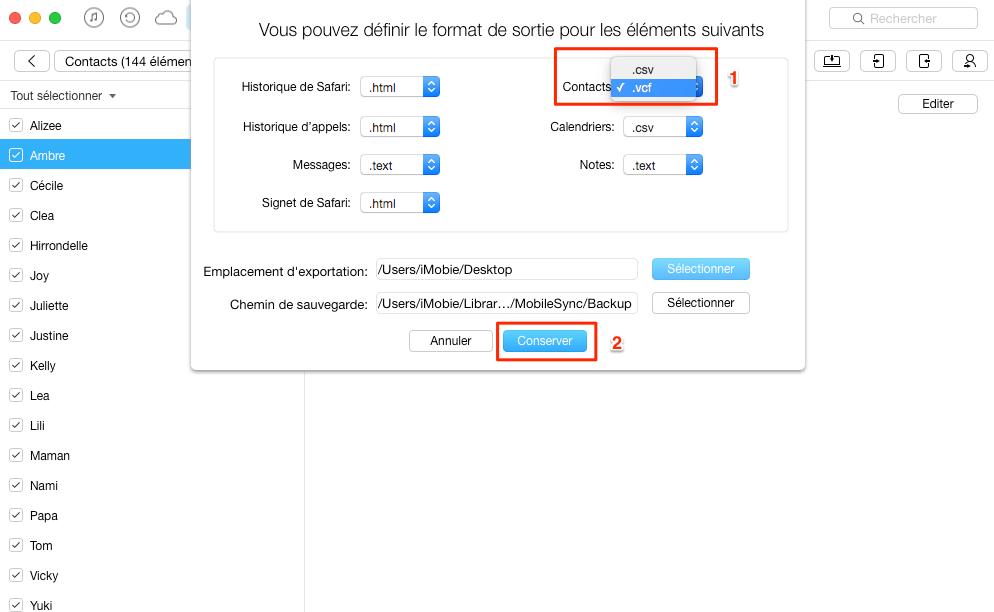 Configurer le format de sortie et l'emplacement d'exportation