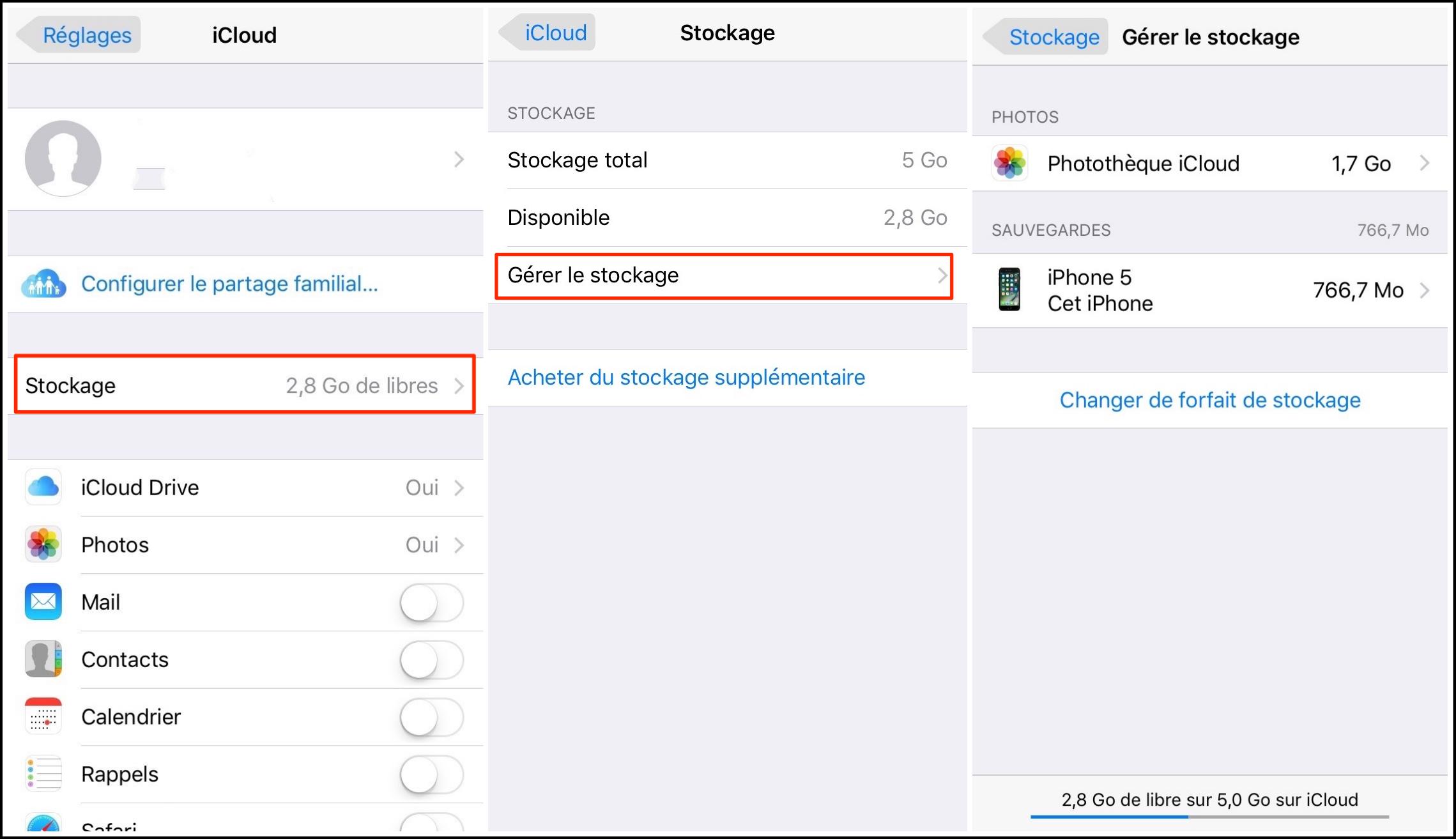 comment libérer le stockage iCloud 1