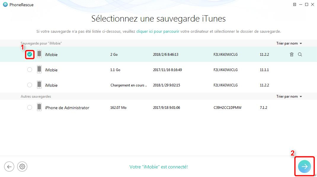Retrouver la sauvegarde iTunes vers iPhone - étape 2