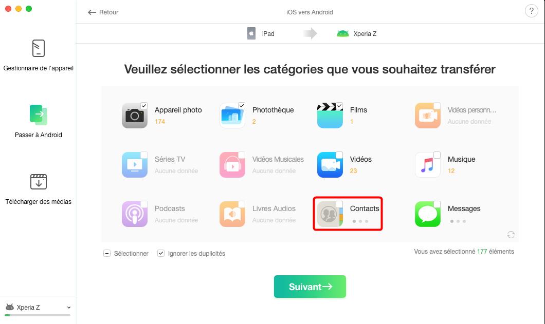 Sélectionner puis mettre les contacts iPhone sur SIM - étape 2
