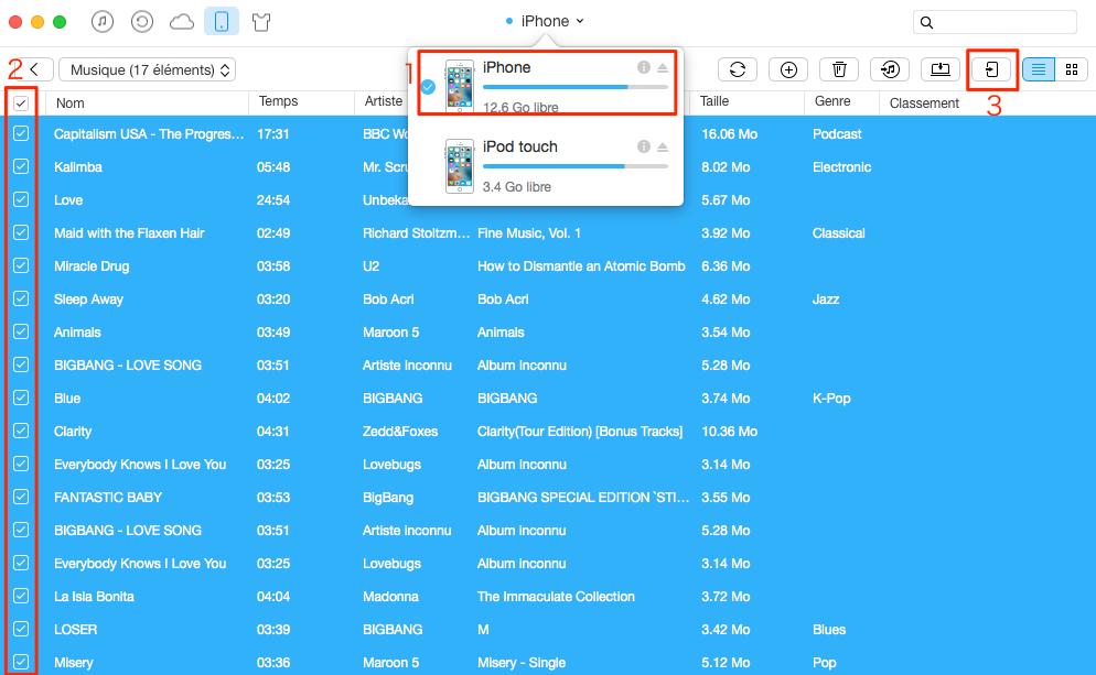 Mettre de la musique sur iPod depuis un autre appareil iOS