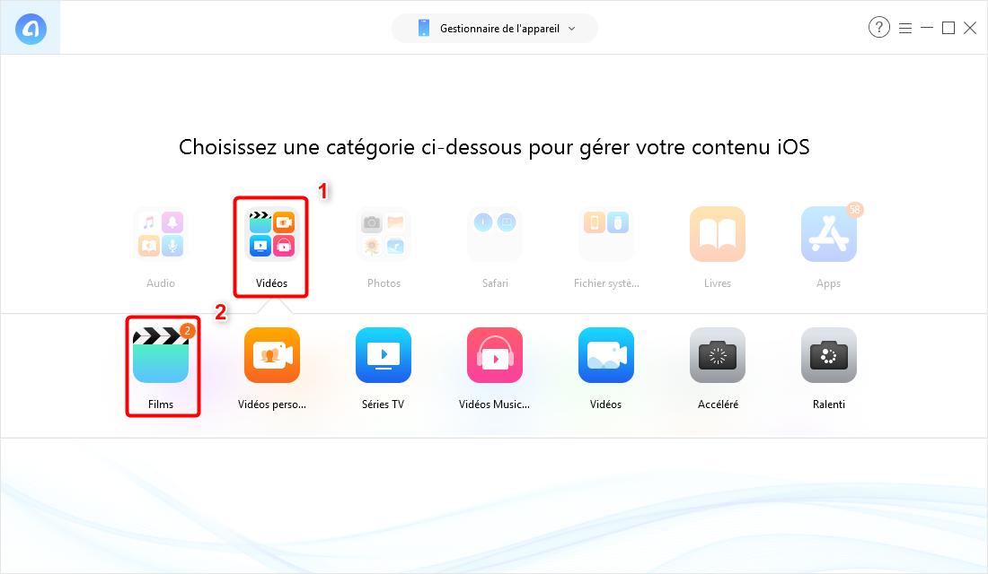 Mettre des films sur iPad Pro /Air /mini sans iTunes – étape 2