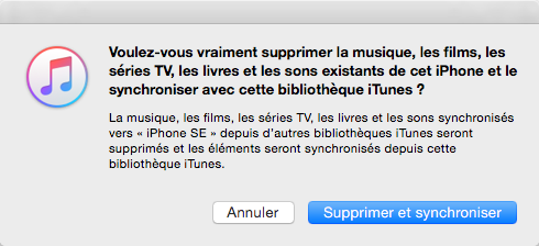 Notification de suppression de données par iTunes