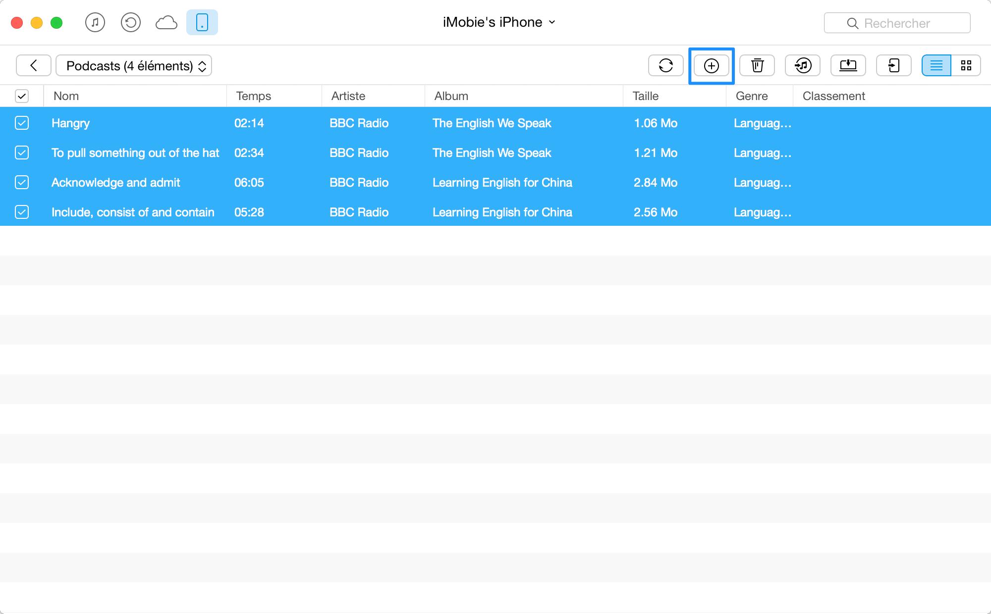 Comment ajouter Podcasts sur iPhone avec AnyTrans - étape 3