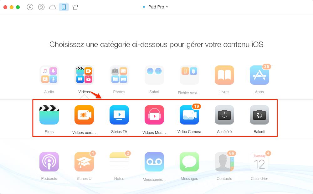Ajouter des vidéos sur iPad sans iTunes - étape 2