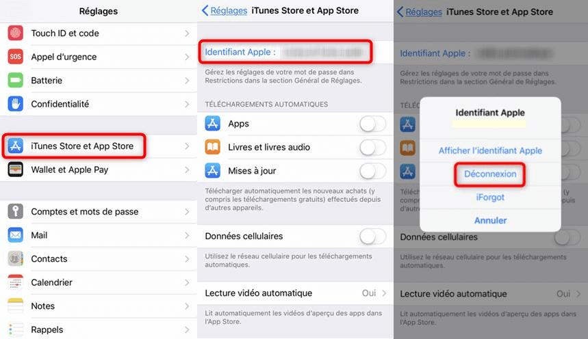 Changement de l'identifiant Apple