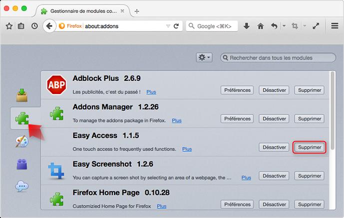 Supprimer l'extension indésirable de Firefox