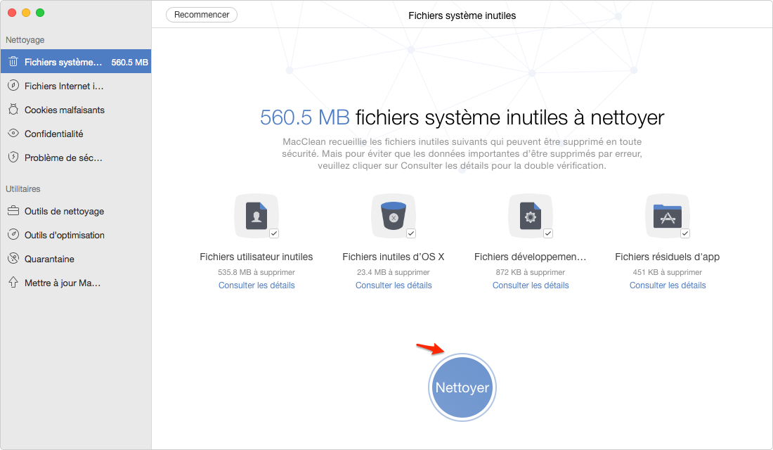 Comment nettoyer le MacBook Pro avec MacClean – étape 3