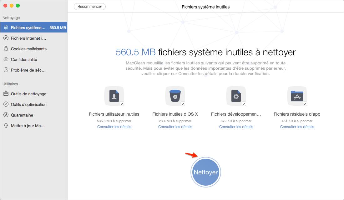 Comment nettoyer la mémoire vive de Mac avec MacClean - étape 3