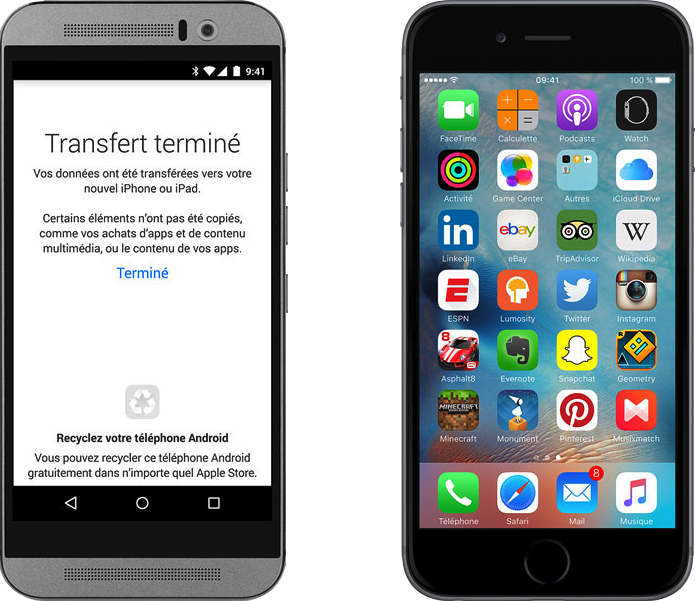 La migration Android vers iPhone via Migrer vers iOS