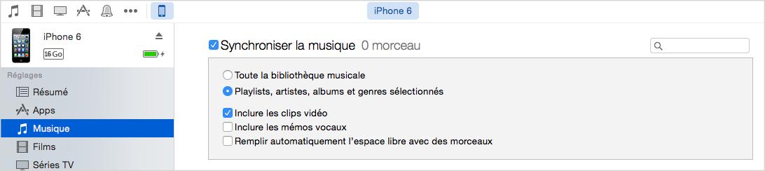 Synchroniser musique/vidéos/photos à l'iPhone 6/6s/7 via iTunes