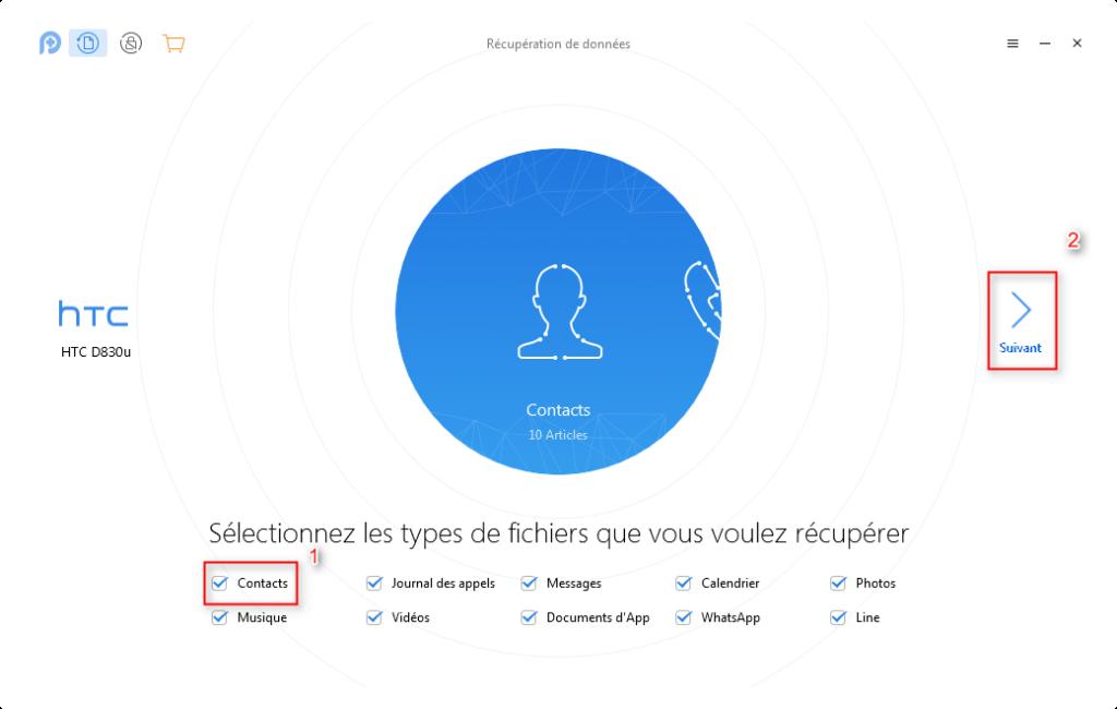 Comment récupérer les contacts supprimés sur HTC – étape 2