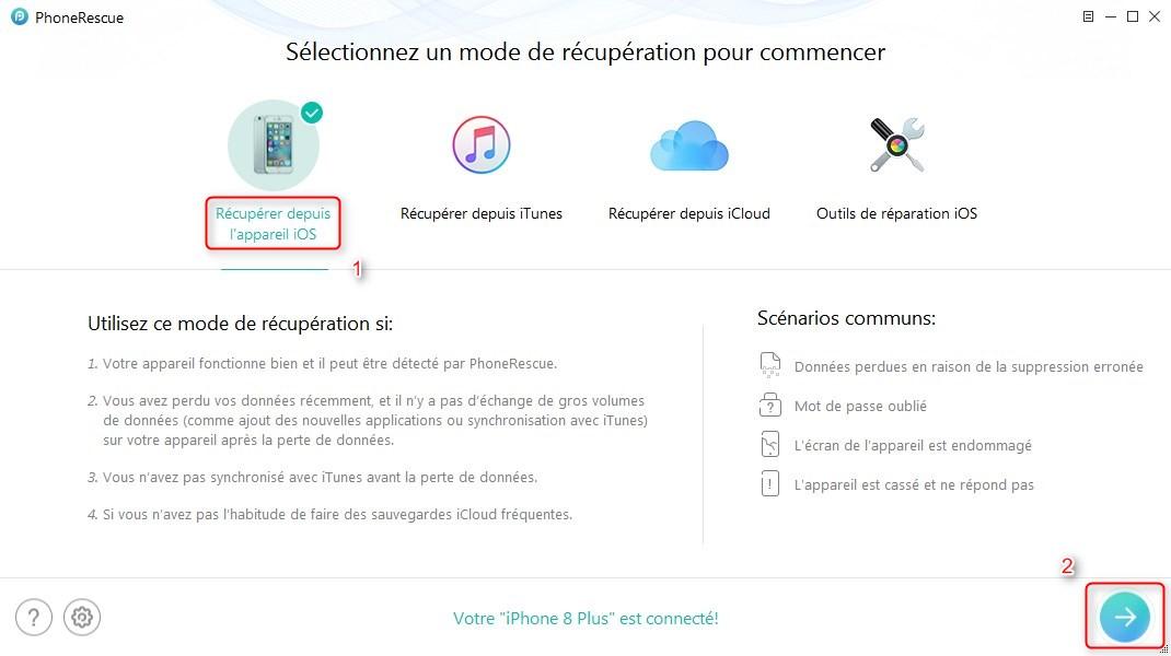 Récupérer les contacts effacés iPhone sur PC sans sauvegarde – étape 1