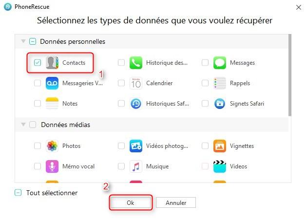 Comment récupérer directement les contacts iPhone sur PC – étape 2