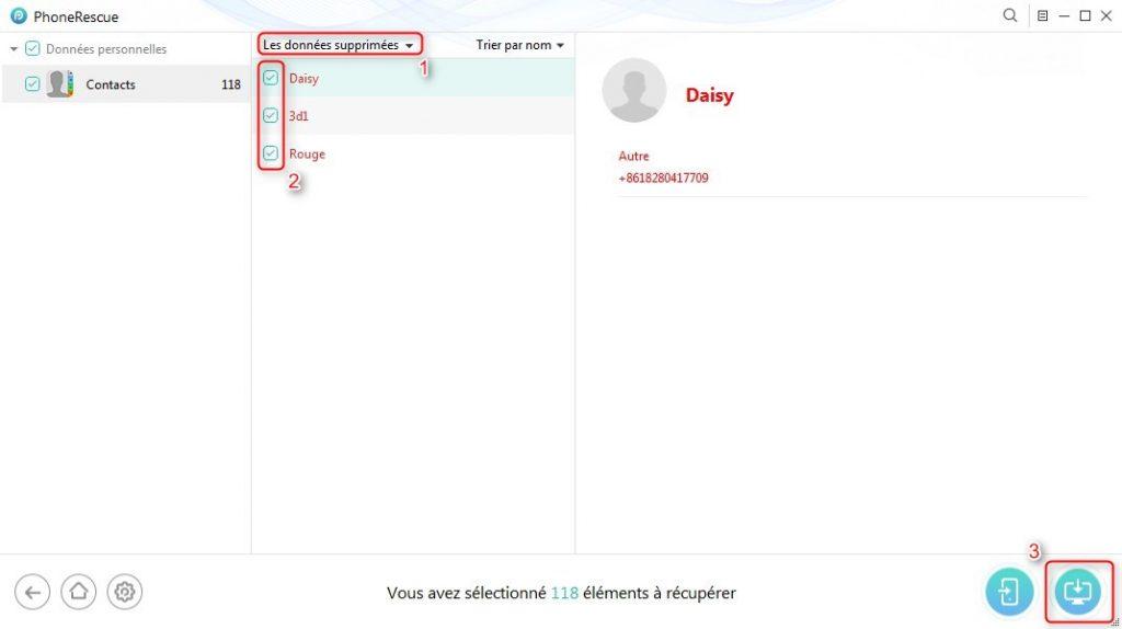 Récupération de contacts supprimés iPhone sur PC - étape 3