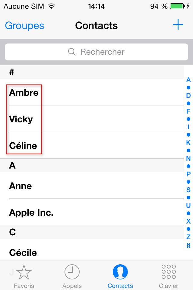 Récupération de contacts iPhone terminé