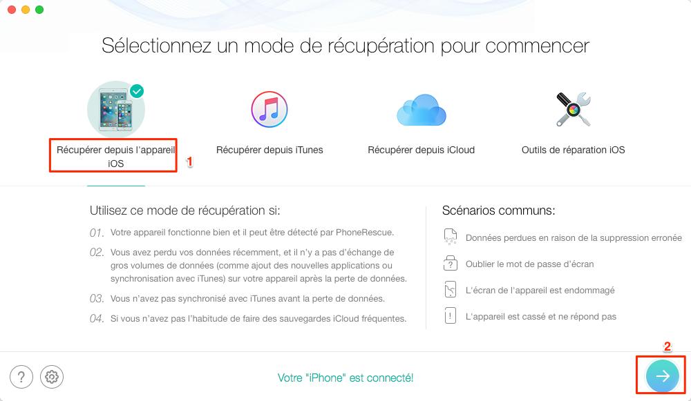 Récupérer les messages supprimés sur votre iPhone – étape 2