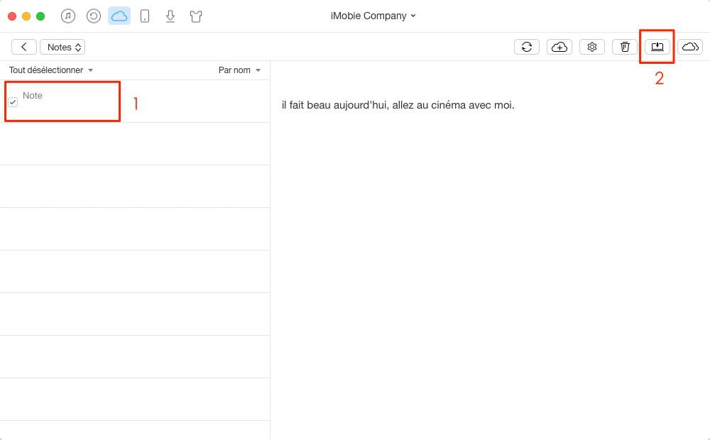 RRécupération des notes sur iCloud vers ordinateur – étape 4