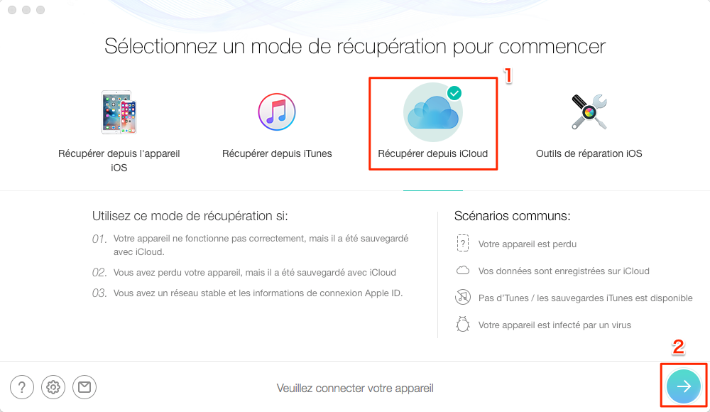 Comment récupérer des photos supprimées iPhone iCloud – étape 2