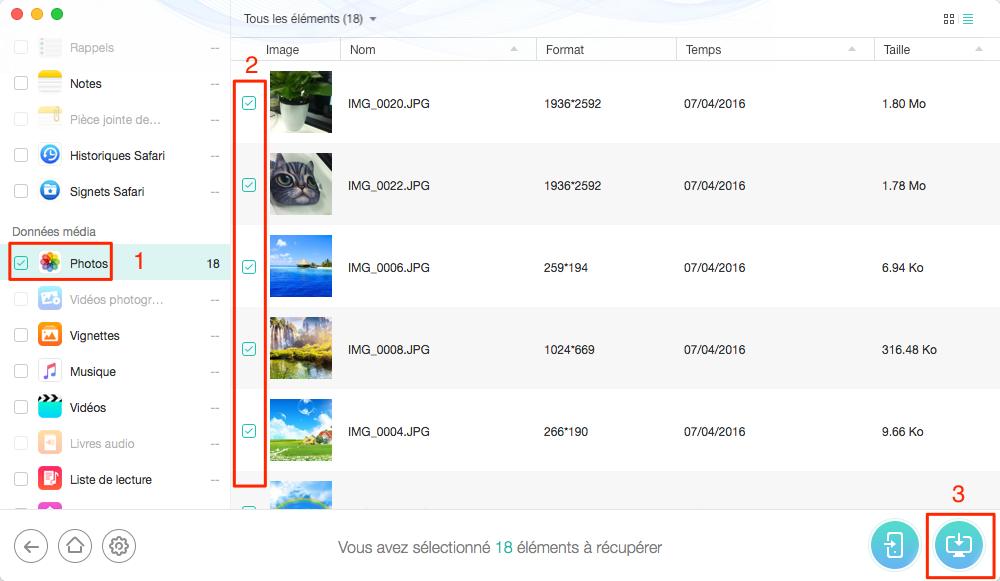 Enregistrer vos photos perdues/supprimées sur votre PC/Mac - étape 6