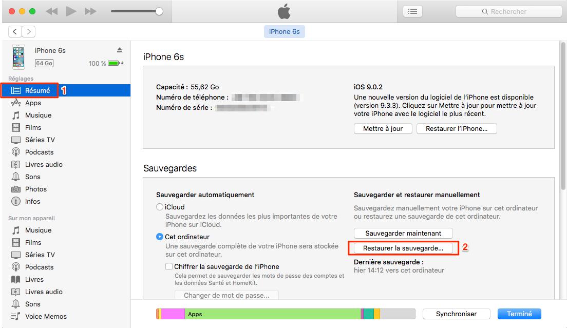 Récupérer des photos supprimées iPhone depuis sauvegarde iTunes