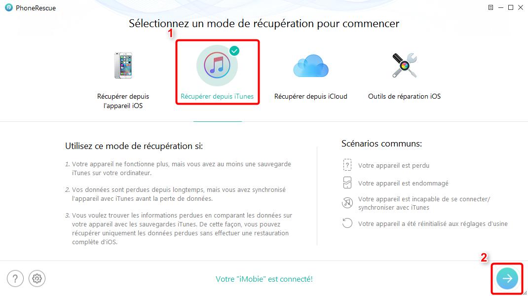 Comment récupérer les photos perdues iPhone iTunes – étape 2