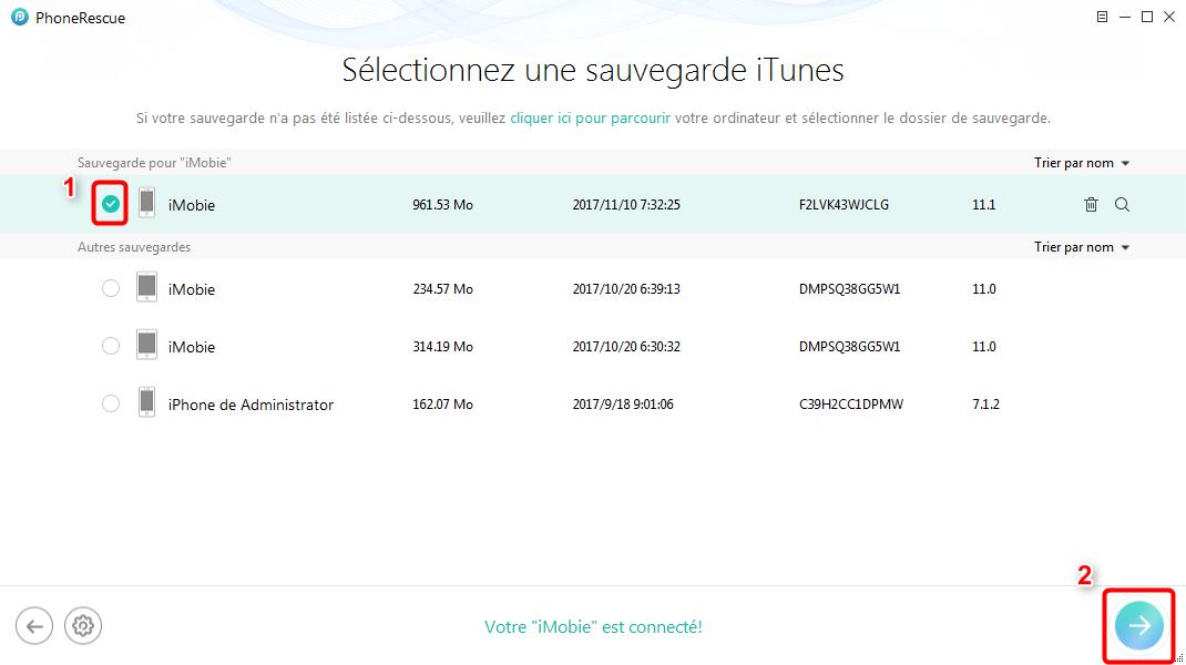 Récupérer les photos iPhone XS/XR/X/8/7 depuis iTunes – étape 3