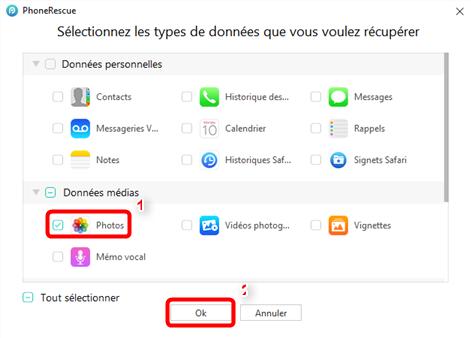 Restaurer sélectivement photos iPhone depuis la sauvegarde iTunes – étape 4