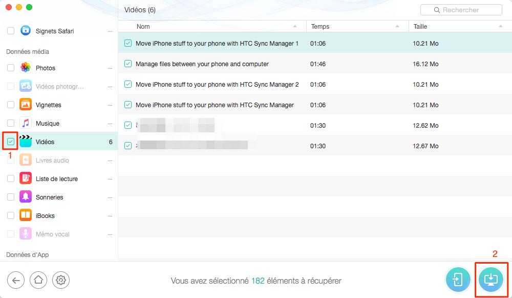 Restaurer les vidéos effacées d'iPad – étape 3