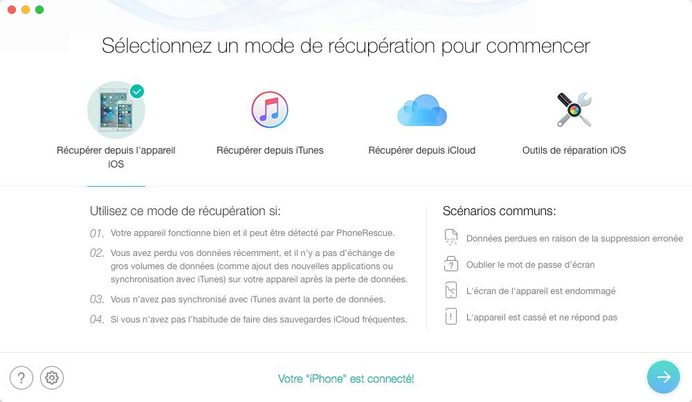 Récupérer les vidéos supprimées sur votre iPhone – étape 1