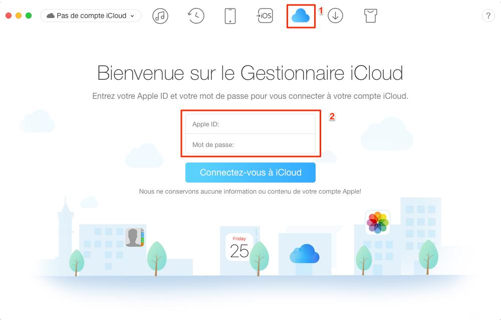 Récupérer sélectivement des contacts iPhone sur iCloud – étape 1