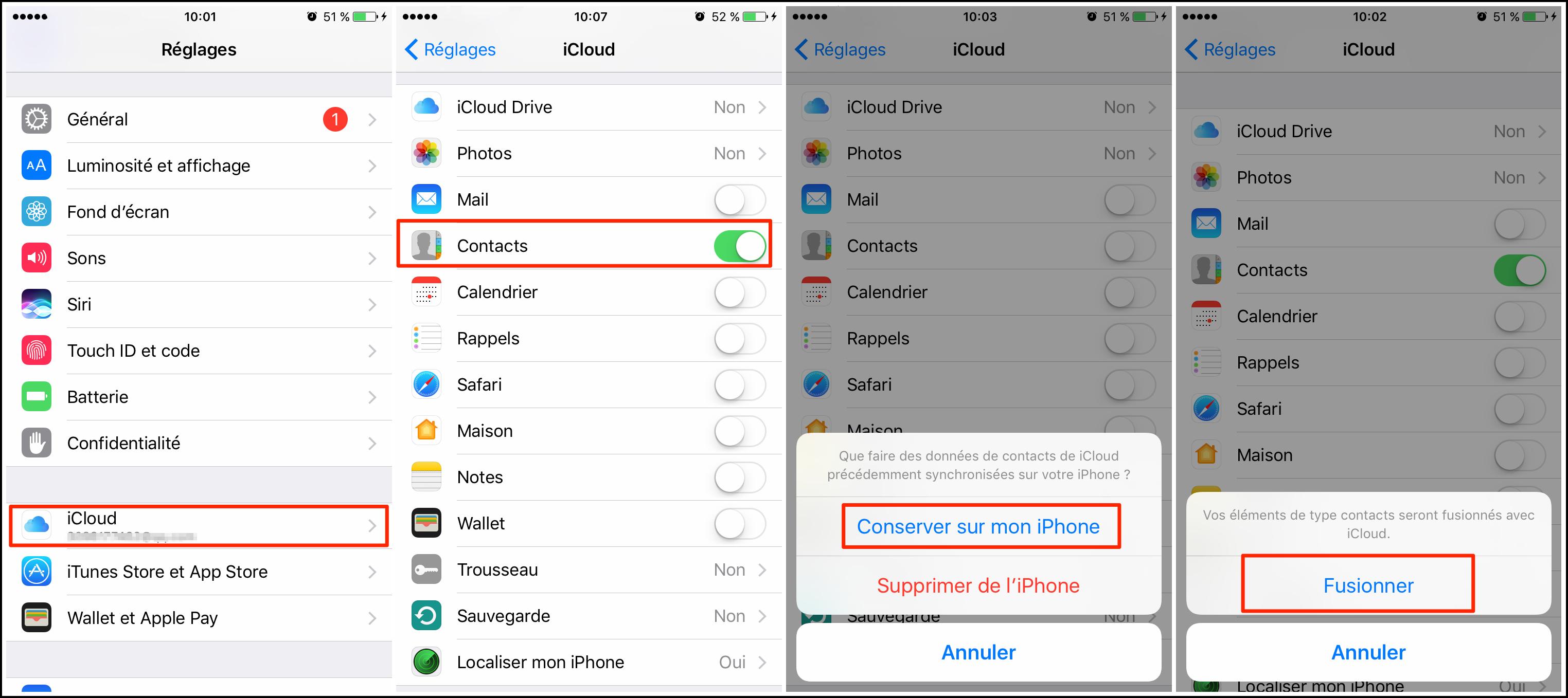 Synchroniser les contacts de iCloud sur votre iPhone