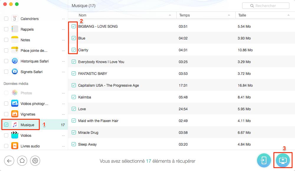 Récupérer des fichiers MP3 musique supprimés avec PhoneRescue - étape 3