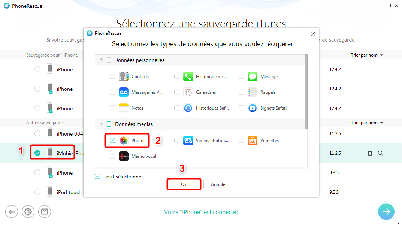 Comment récupérer les photos iPhone cassé sans iTunes – étape 2
