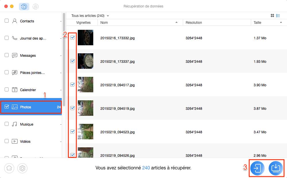 Récupérer les photos Google Nexus – étape 3