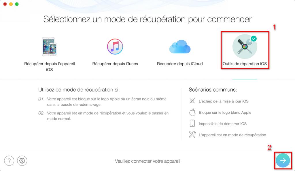 Comment réparer iPhone 7/7 Plus bloqué sur iTunes au démarrage – étape 1