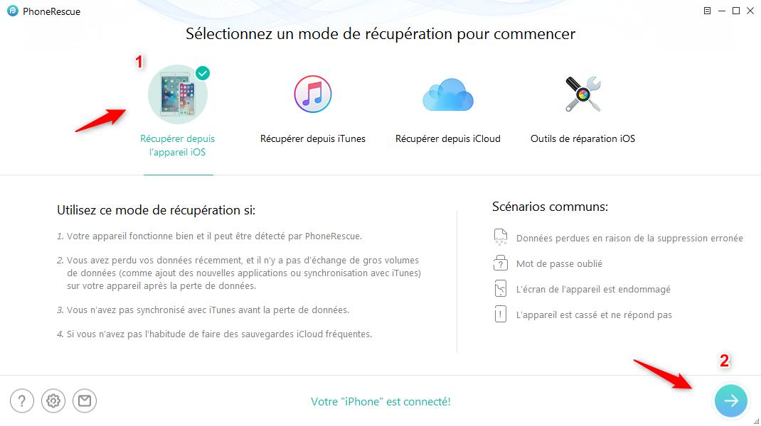 Restaurer son iPhone avec PhoneRescue