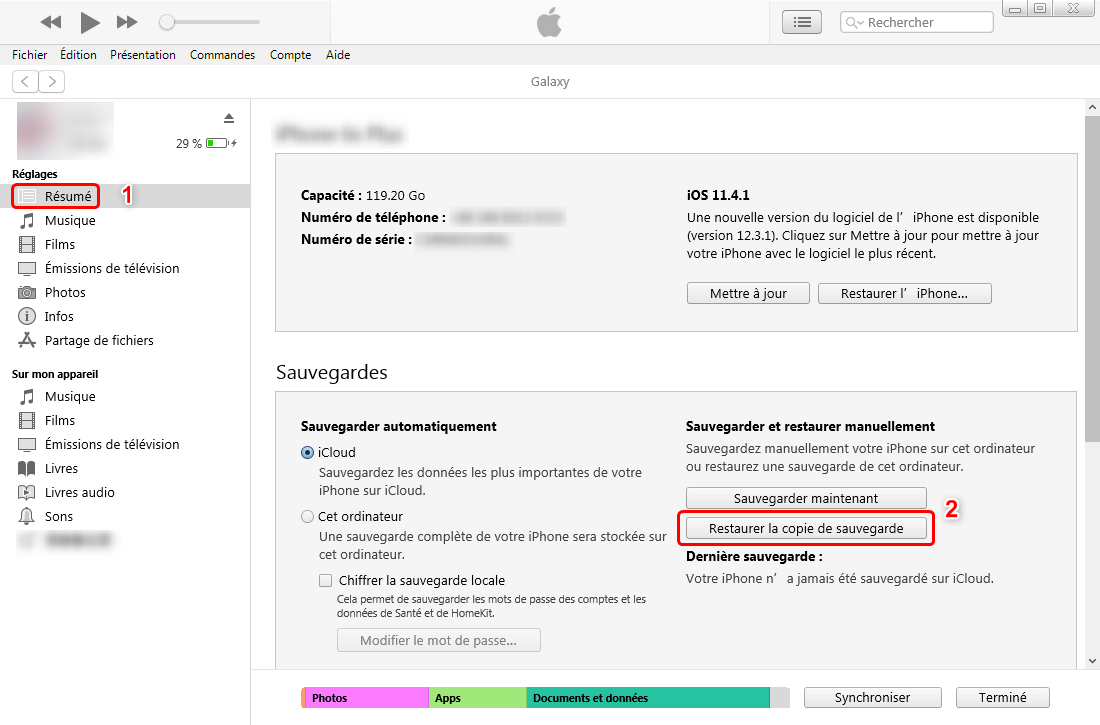 Restaurer la sauvegarde iPhone depuis iTunes – étape 2