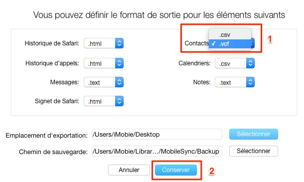 Sélectionner le format de sortie pour la sauvegarde de contacts iPhone