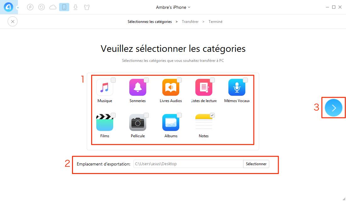 Comment sauvegarder iPhone sans iTunes sur PC – étape 2