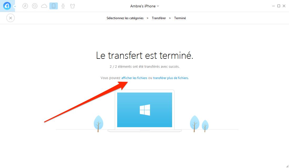 Sauvegarder iPhone 4/5/6/7 sur PC sans iTunes – étape 3