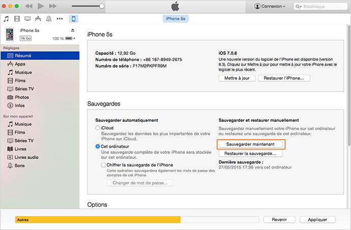 Sauvegarder les données de l'iPhone avec iTunes – méthode 1