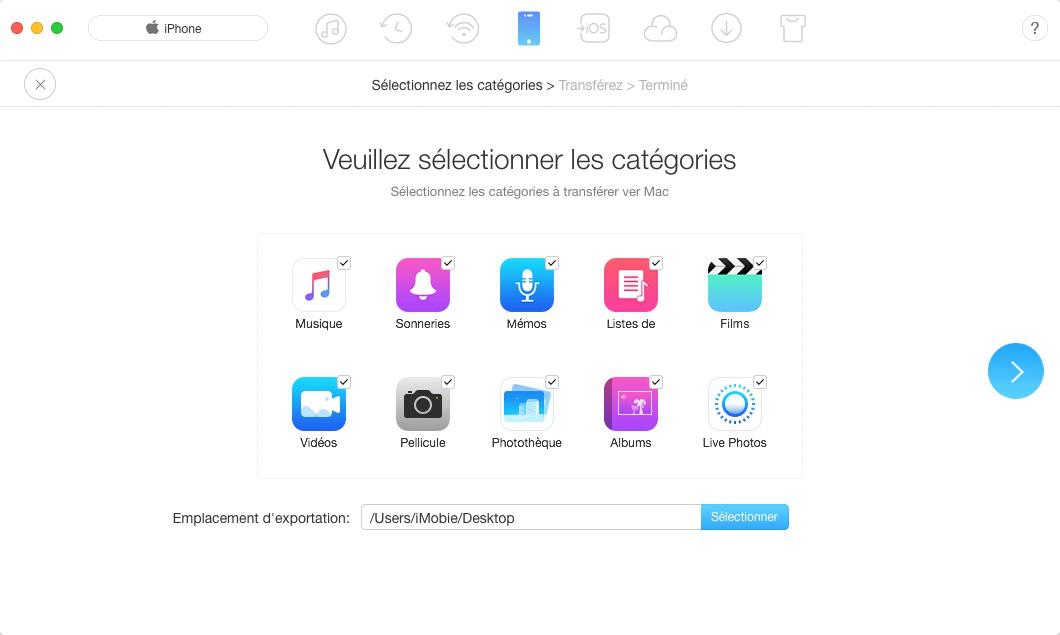 Sauvegarder les données de l'iPhone avec AnyTrans pour iOS – étape 2